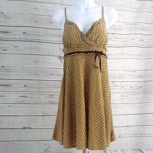 Free People red yellow plaid spaghetti strap dress